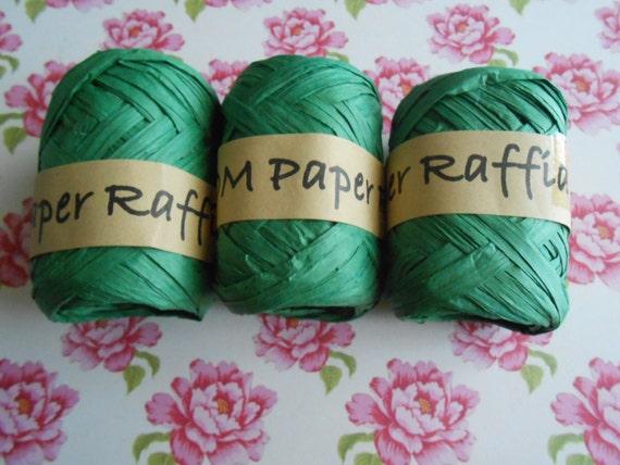 Raffia Twine Skeins Green 3 pcs