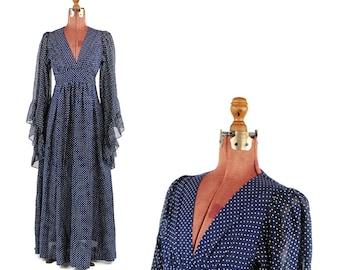 Vintage 1970's Navy Blue Sheer Cotton White Polka Dot Bell Ruffled Fan Sleeve Hippie Festival Dress S