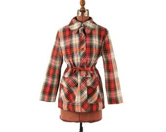 Vintage 1970's Cotton Red + Green Preppy Plaid Lightweight Short Retro Waist Tie Jacket Coat L