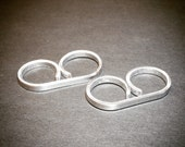 Silver Double Ring - Silver Two Finger Ring - Adjustable - Great for Sensitive Skin - Double Finger Ring - Dual Ring