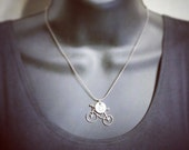 ON SALE Bicycle and Initial Necklace - Personalized Birthstone Jewelry - Swarovski Birthstones - Layered Silver Necklace