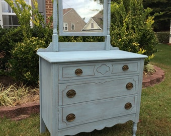 SOLD**Vintage Chic Cottage Blue Dresser with Mirror