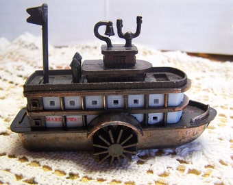 Collectible Vintage Pencil Sharpener Mark Twain Steam Boat Metal Working Part
