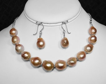 Pearl Necklace and Earring Set in Silver