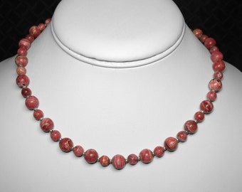 "Rhodochrosite Necklace in Silver, 16"""