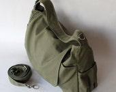 Back To School SALE - 30% Pico in Army Green (Water Resistant) Messenger Bag / Tote / Diaper bag / Women / Laptop/Diaper Bag/ School Bag/ Wo