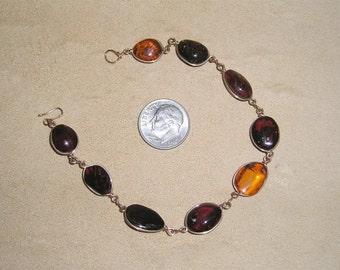 Vintage Real Baltic Amber Bracelet 1960's Jewelry 8016