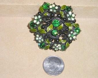 Vintage Green Rhinestone And Enamel Ivy Brooch Pin 1950's Jewelry 2148