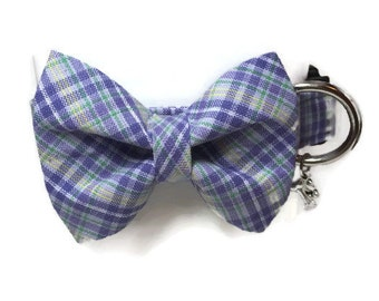 Lavender Plaid Bow Tie Dog Collar size Medium