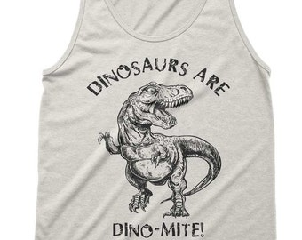 Dinosaurs Are Dinomite Tri-Blend Tank - American Apparel Unisex Tanktop - XS S M L (Color Options)