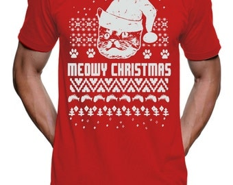 Funny Cat Christmas T Shirt Christmas Ugly Sweater Tshirt Cat in a Hat Funny Christmas Tshirts Gifts For Cat Lovers Holiday Gift Shirts Cats