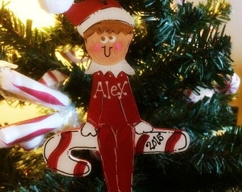 Shelf Elf Ornament Personalized Name Country Christmas Ornie Elves