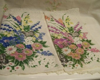 Vintage Floral Handkerchiefs Set of 2 Pink and Blue with Butterflies