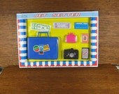 "Vintage Child's  ""JET SETTER"" Toy Doll Travel Set Pan Am in Original Box Winner Toy Purse Camera Money Passport New York"