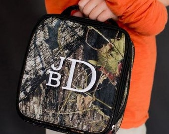 Personalized Camo Lunch Bag, Monogrammed Woods Lunch Tote, Personalized Real Tree Lunch Box