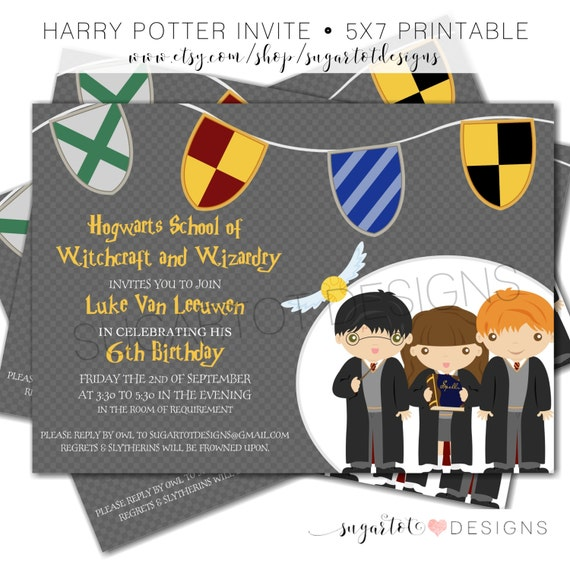 Harry Potter Birthday Party Invitation Wizard and Witch – Harry Potter Party Invitation