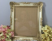 """Gold Whitewash Picture Frame 8"""" x 10"""" Mid Century Wall or Table Top Frame, Ornate Frame, Gold Filigree Frame"""