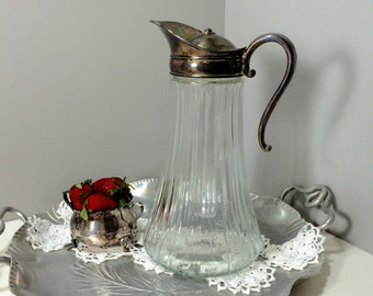 Glass Pitcher with Ice Insert, Silver and Glass Pitcher with Ice Insert, Victorian Wine Carafe, Beverage Pitcher, Claret Jug, Decanter