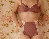 Handmade Polka Dot Vintage Inspired Soft Bra And High Waist Pantie Lingerie Set. U.K Sizes 8,10,12,14,16
