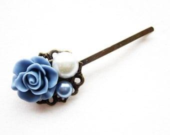 Haarklammer,haarspange,hair pin,hair clip, hochzeit,wedding,Blumen,Vintage-Stil,blau