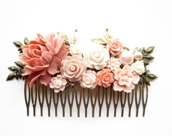 Haarkamm,haircomb,Haar-Accessoire,Hair Accessories, Shabby Chic, Romantic,floral haircomb,rose wedding, rose.koralle,coral,romantic haircomb