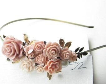 Haarreif,hair band,head band,Wedding,Bridal Headband,Peach Blush Hairband, Floral Head Piece, Romantic Flower, Bohemian, Woodland Chic