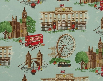 CK002 - 140cmx100cm Cotton Canvas Fabric - London landscape - wheel, tower,bus
