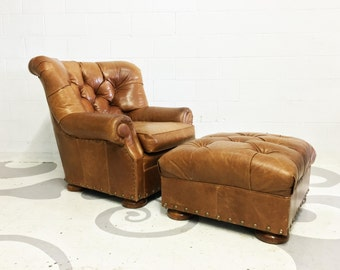 FREE SHIPPING industrial art deco style leather armchair with an ottoman