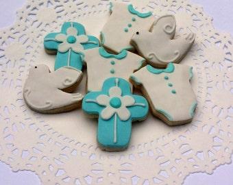 Mini Baptism Sugar Cookies - Baby Boy - 2 1/2 Dozen Mini Bites - Christening Cookies