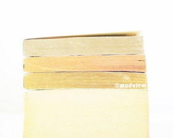 Minimalist Art Print - An afternoon in Glasgow - Modern vintage books photo, beige, cream, ivory, gold, golden, coral, 8x8, 8x10
