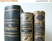 EOYC french books in black, french home decor, book stack, winter colors, leather bound books, decorator books, volcano hues