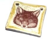 Ceramic Fox Pendant Handmade Stoneware