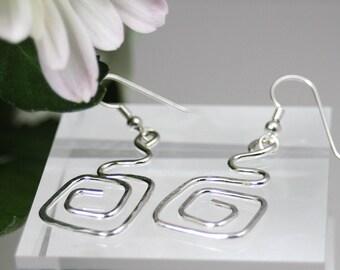 Crazy Square Earrings, Sterling silver dangle earrings, chandelier earrings, hoop earrings, silver square earrings