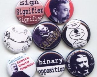 "Ferdinand de Saussure Swiss linguist and semiology Founder of Modern Linguistics Set of 8 Hand Pressed Pinback 1"" Buttons Badges Pins"