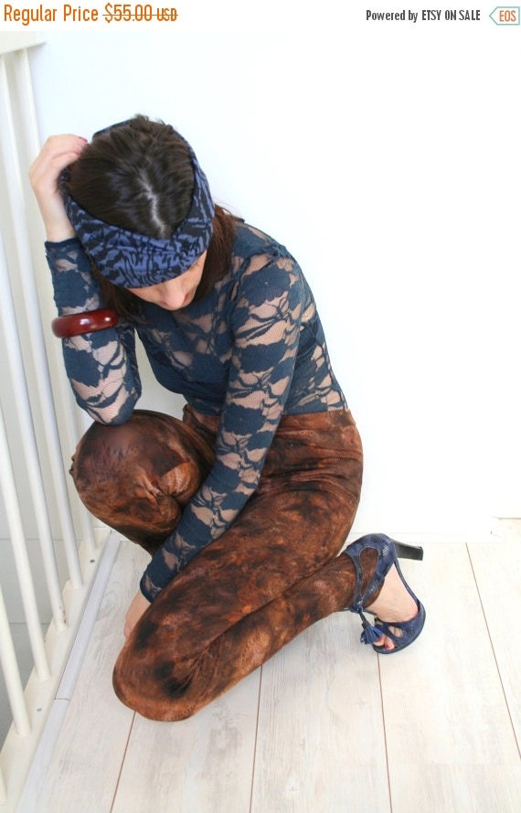 SALE Tie dye leggings in brown with black ornamental print, women's leggings