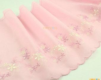Terylene Lace Trim Pink Tulle Lace Trim Floral Embroidery Lace Trim 19cm Width -- 2 Yards (LACE257)
