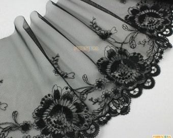 Terylene Lace Trim Black Tulle Lace Trim Floral Embroidery Lace Trim 18.5cm Width -- 2 Yards (LACE272)
