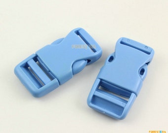 30 Pieces 20mm Light Blue Plastic Side Quick Release Buckle Clip for Backpack Bag (RBCNO49)