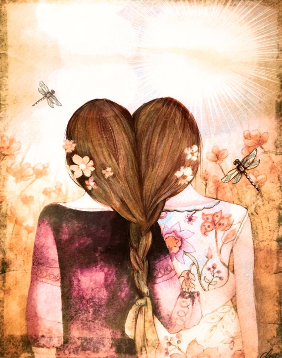twins,best friends,sisters dark blonde brownish hair  art print with dragonfly