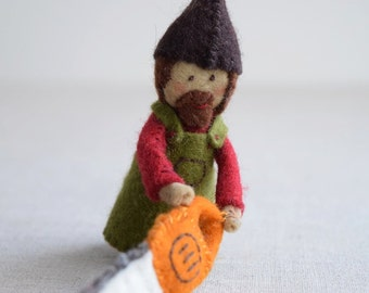 Woodsman Finger Puppet Sewing Pattern - DIY Mini plushie pattern for felt woodsman or woodswoman soft toy from Red Riding Hood