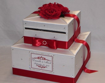 Red and White Wedding Card Box- Red Roses-Rhinestone accents