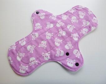 12 inch cloth pad - cloth menstrual pad - mama pad - heavy flow pad - mama cloth - plus size pad - lilac skulls flannel - made to order