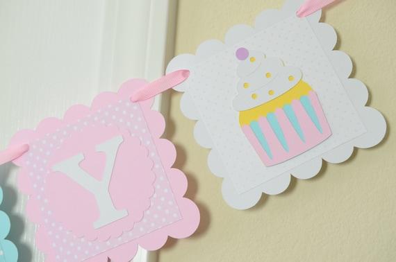 cupcake happy birthday banner girl banner birthday banner pink