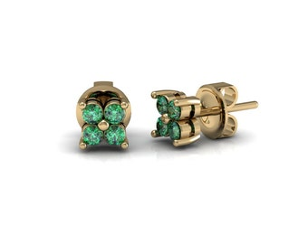 Sapphire Emerald Ruby Four Petal Stud Earrings in 14k Yellow Gold | made to order for you within 5-7 business days