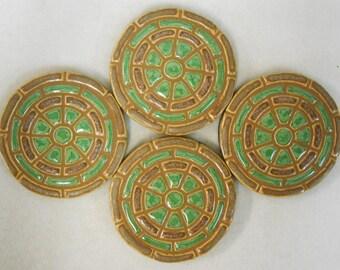 Mosaic Tile Coasters Handmade Ceramic Tile Coaster Stoneware Geometric Art Mojave Oasis Green - felt backed -Set of 4