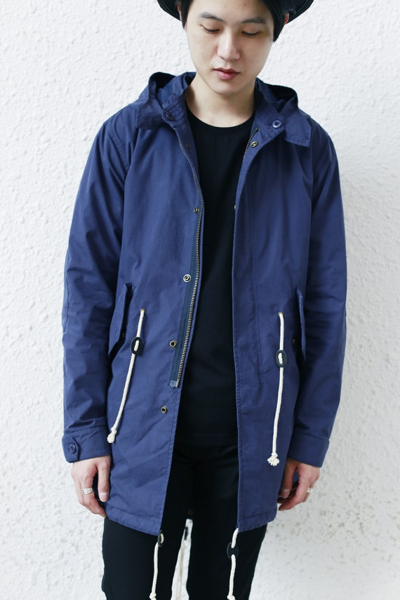 Navy Blue Fishtail Parka