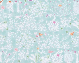 Fat quarter Yoshie D Liberty print, light aqua forest animals silhouette Liberty of London tana lawn