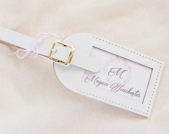 Wedding and Shower Favors - Monogram Escort Card Leather Luggage Tags