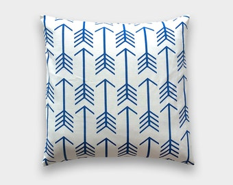 25% OFF Cobalt Blue Arrows Decorative Pillow Cover. 18X18 Inches. Royal Blue Throw Pillow Cover.