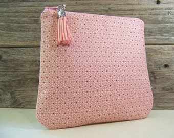 Clutch or Cosmetic bag in a cute pink Tilda fabric with tassel and waterproof washable lining - Make up bag or custom bag for wedding.
